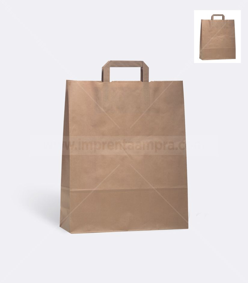 muy bonito apariencia elegante diseño distintivo Bolsas de papel kraft asa plana