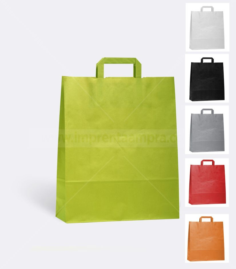 1fd2ebdae Bolsas de papel económicas personalizadas | Asa plana color