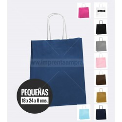 Bolsas de papel de colores asa retorcida pequena