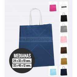 Bolsas de papel de colores asa retorcida medianas