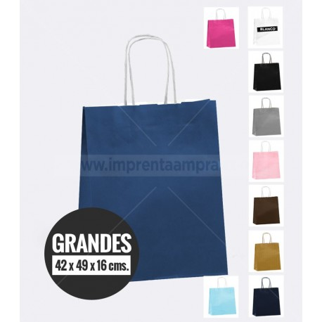 Bolsas de papel de colores asa retorcida grande