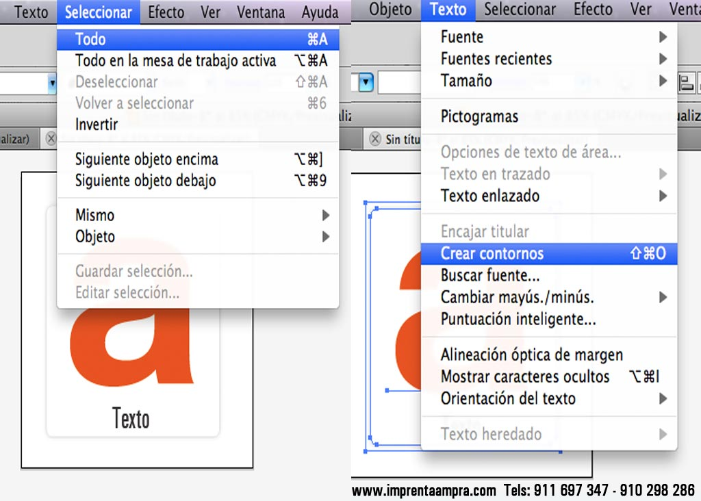 tipografias vectorizados para impresión.